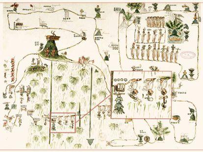 Facsimilar del 'mapa de Sigüenza', que describe la migración de los aztecas desde Aztlán hasta Tenochtitlan. Está resaltado el códice que representa Temazcaltitlan, ubicado ahora en el céntrico barrio de La Merced, en Ciudad de México