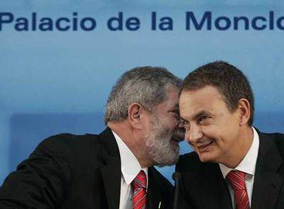 El presidente Lula da Silva junto a Rodríguez Zapatero en el Palacio de La Moncloa de Madrid.