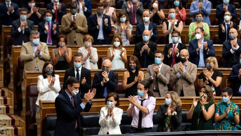 Lleno total en la bancada socialista en el pleno del Congreso para informar del último Consejo Europeo.