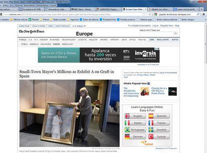 Noticia en la web de 'The New York Times' sobre la corrupción en España.
