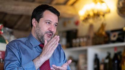 Matteo Salvini, durante la entrevista, el miércoles, en su despacho de Roma.