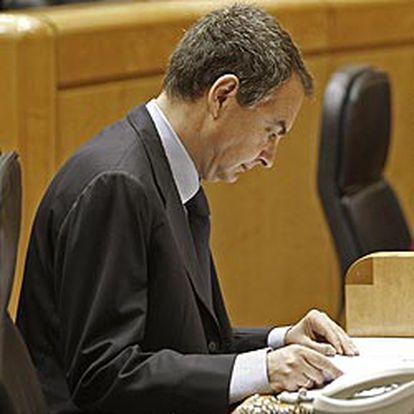 José Luis Rodríguez Zapatero durante un pleno en el Senado.
