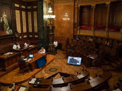 El pleno del Ayuntamiento de Barcelona de septiembre, con concejales conectados telemáticamente.