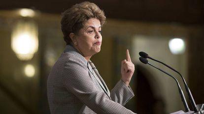 Dilma Rousseff, durante su intervención en unas jornadas en Sevilla.
