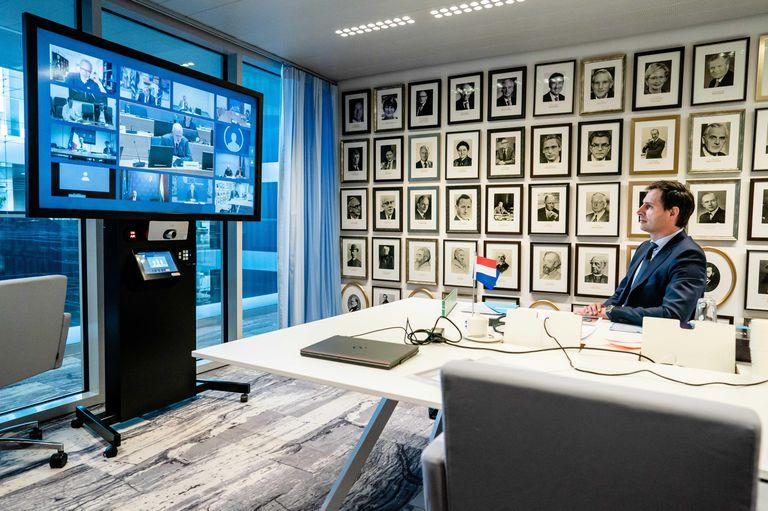 El ministro holandés de Finanzas, Wopke Hoekstra, este martes en videoconferencia.
