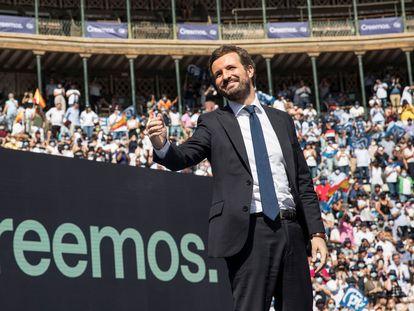 El líder del PP, Pablo Casado, durante la clausura de la convención nacional de su partido este domingo en Valencia.