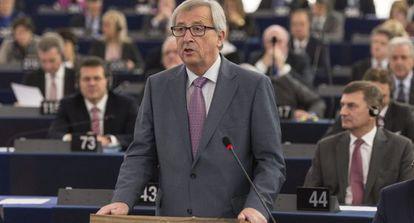 El presidente de la Comisión Europea, Jean-Claude Juncker, este martes en la Eurocámara.