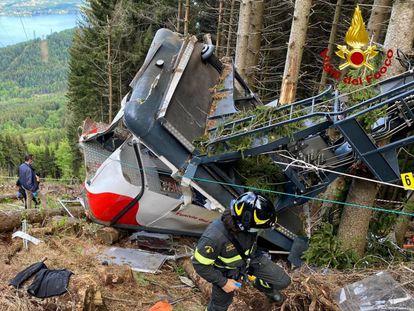 La cabina del teleférico accidentado en el monte Mottarone (norte de Italia) el 23 de mayo.