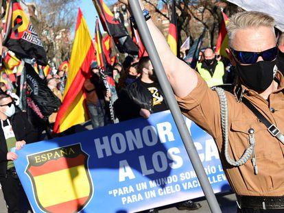 Un momento de la marcha neofascista del pasado sábado en Madrid en homenaje a la División Azul.