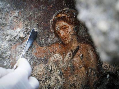 Vista del fresco 'Leda e il cigno' ('Leda y el cisne'), descubierto en el área Regio V del parque arqueológico de Pompeya.
