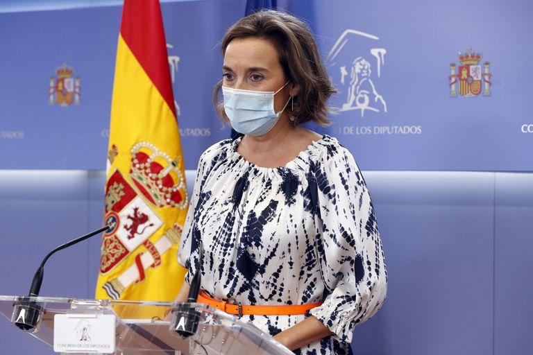 La portavoz del Partido Popular en el Congreso de los Diputados, Cuca Gamarra, durante la rueda de prensa que ha ofrecido tras la Junta de Portavoces de la Cámara baja. EFE/ J.J. Guillen