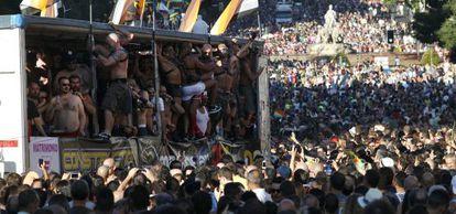 Una carroza de osos en el desfile del año pasado en Madrid.