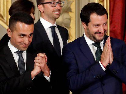Luigi Di Maio y Matteo Salvini, en una ceremonia en el Quirinal, el pasado junio.