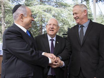 Netanyahu, el presidente Rivlin y Gantz, el pasado septiembre en Jerusalén.