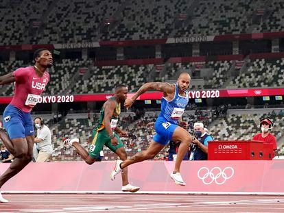 Jacobs se impone a Kerley en la final de los 100m de los Juegos Olímpicos de Tokio.