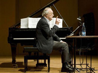 Alfred Brendel, ayer en el Palau de la Música de Barcelona.