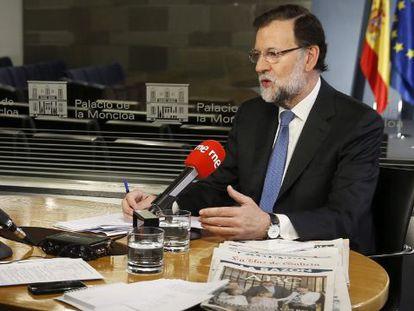 Mariano Rajoy, durante una entrevista con Radio Nacional este lunes.