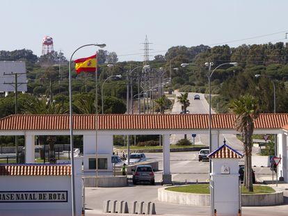 Entrada de la base naval de Rota (Cádiz), que alberga el escuadrón de destructores de la Marina estadounidense.