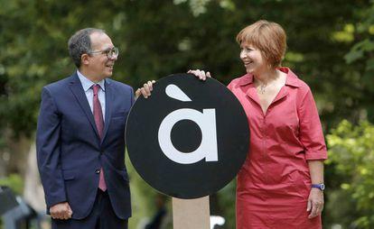 Enrique Soriano y Empar Marco en la presentación del logotipo de À Punt.