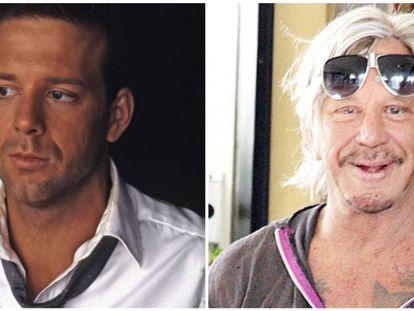 Mickey Rourke antes y después de sus múltiples operaciones de cirugía estética.