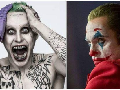 Jared Leto (izquierda) y Joaquin Phoenix, caracterizados para interpretar a Joker. En vídeo, tráiler de 'Escuadrón suicida'.