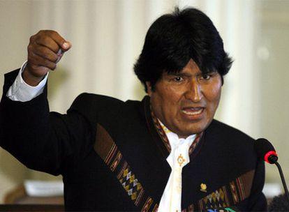 Evo Morales, durante la rueda de prensa celebrada en Washington