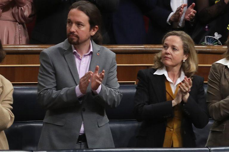Pablo Iglesias y Nadia Calviño, en la apertura de la legislatura en febrero.