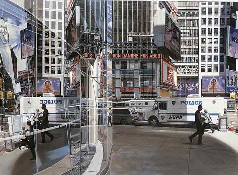 <i>La calle 43 y Broadway</i>, 2005, una de las obras de Richard Estes que se exponen en el Museo Thyssen de Madrid.