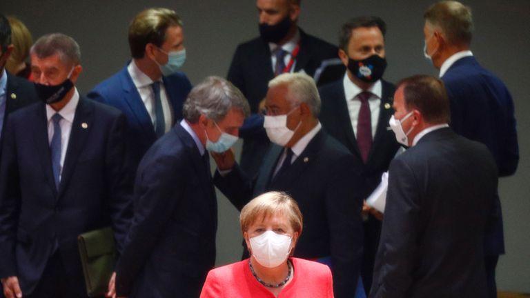 La canciller alemana, Angela Merkel, durante la cumbre de la UE en Bruselas de este viernes.