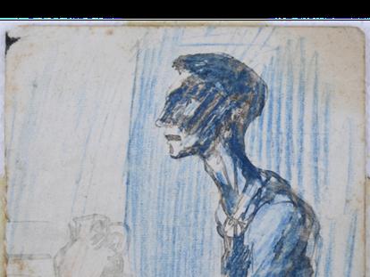 Parte superior de 'El ciego', dibujo pintado por Picasso en 1903 como preparación de 'La comida del ciego'.
