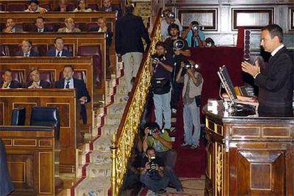 Zapatero, durante su turno de réplica en la sesión extraordinaria sobre el envío de tropas a Líbano.