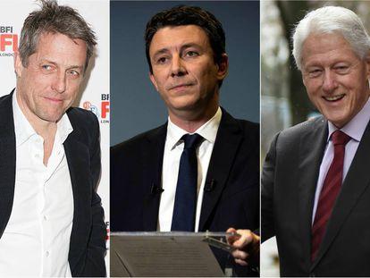 Hugh Grant, Benjamin Griveaux y Bill Clinton.
