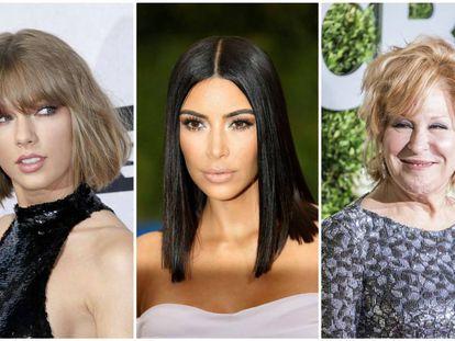 De izquierda a derecha: Taylor Swift, Kim Kardashian y Bette Midler.