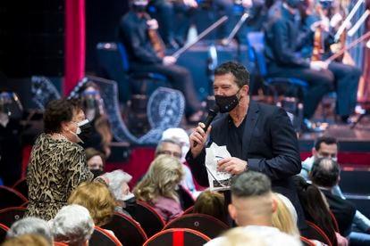 Antonio Banderas, esta mañana, en el Teatro del Soho.