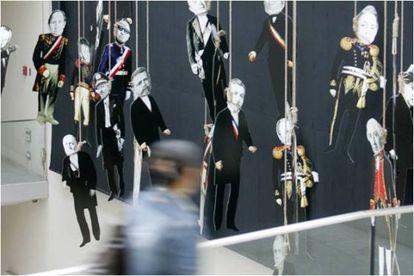 'El pago de Chile', obra de Nicanor parra expuesta en la muestra de la Universidad Diego Portales.