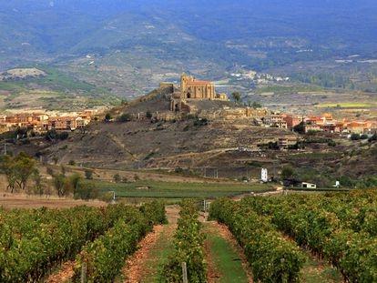 San Vicente de la Sonsierra vista desde las Bodegas Vivanco en Briones, La Rioja.