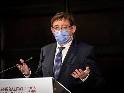 Ximo Puig, tras la reunión este lunes con eurodiputados valencianos para analizar la situación de la Comunidad Valenciana con motivo del Brexit.