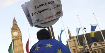 Protestas en Londres a favor de que el Parlamento británico modifique el proyecto del Brexit.