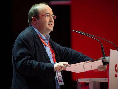 El primer secretario del PSC, Miquel Iceta, durante el 14 congreso del PSC. En vídeo, imágenes del congreso.