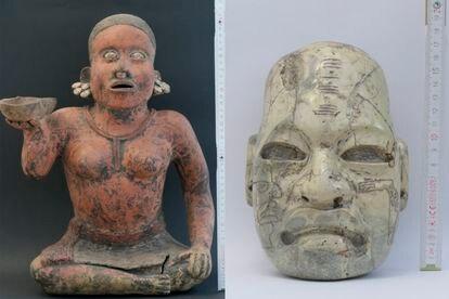 Dos de las piezas arqueológicas de México entregadas de manera voluntaria por ciudadanos alemanes.