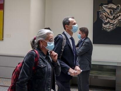El Ministro de Ciencia e Innovación, Pedro Duque, a su llegada al Senado el 16 de junio.
