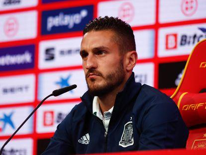 Koke, durante la rueda de prensa que ofreció este martes en la Ciudad del Fútbol de Las Rozas. /AFP7
