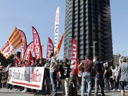 Manifestación de trabajadores de CaixaBank la pasada semana en Barcelona.