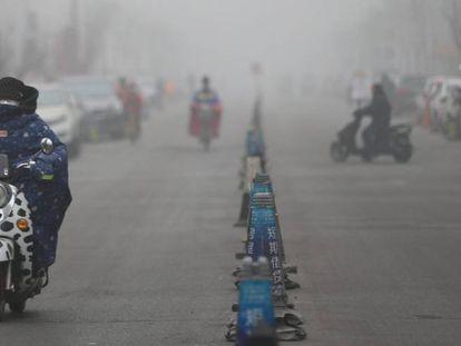 La bruma por la contaminación en Pekín, el pasado martes.