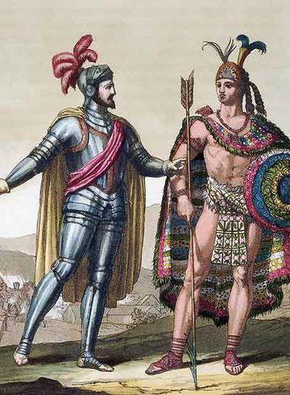 Hernán Cortés y Moctezuma II.