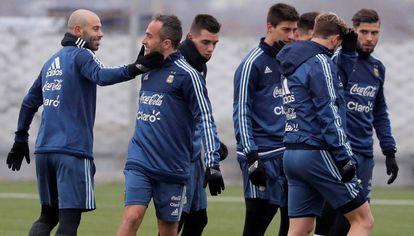 Mascherano, en el entrenamiento de la selección argentina en Rusia.