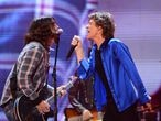 ANAHEIM, CA - MAY 18:  Singer Dave Grohl and Mick Jagger perform at the 'Rolling Stones 50 & Counting Tour' at The Honda Center on May 15, 2013 in Anaheim, California.  (Photo by Mark Davis/Getty Images for AEG)