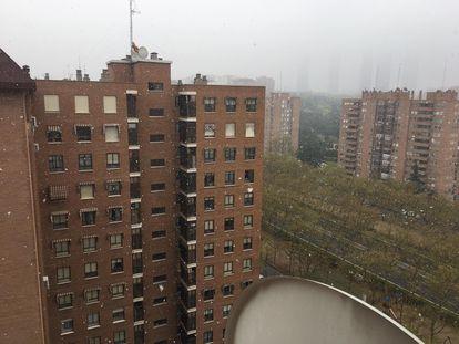 Copos de nieve cayendo esta mañana en el barrio del Pilar de Madrid.