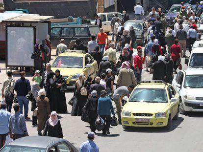 Una calle de Damasco, el pasado domingo tras la reapertura de comercios.