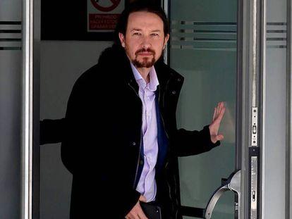 Pablo Iglesias, a su salida de la Audiencia Nacional, en marzo de 2019.